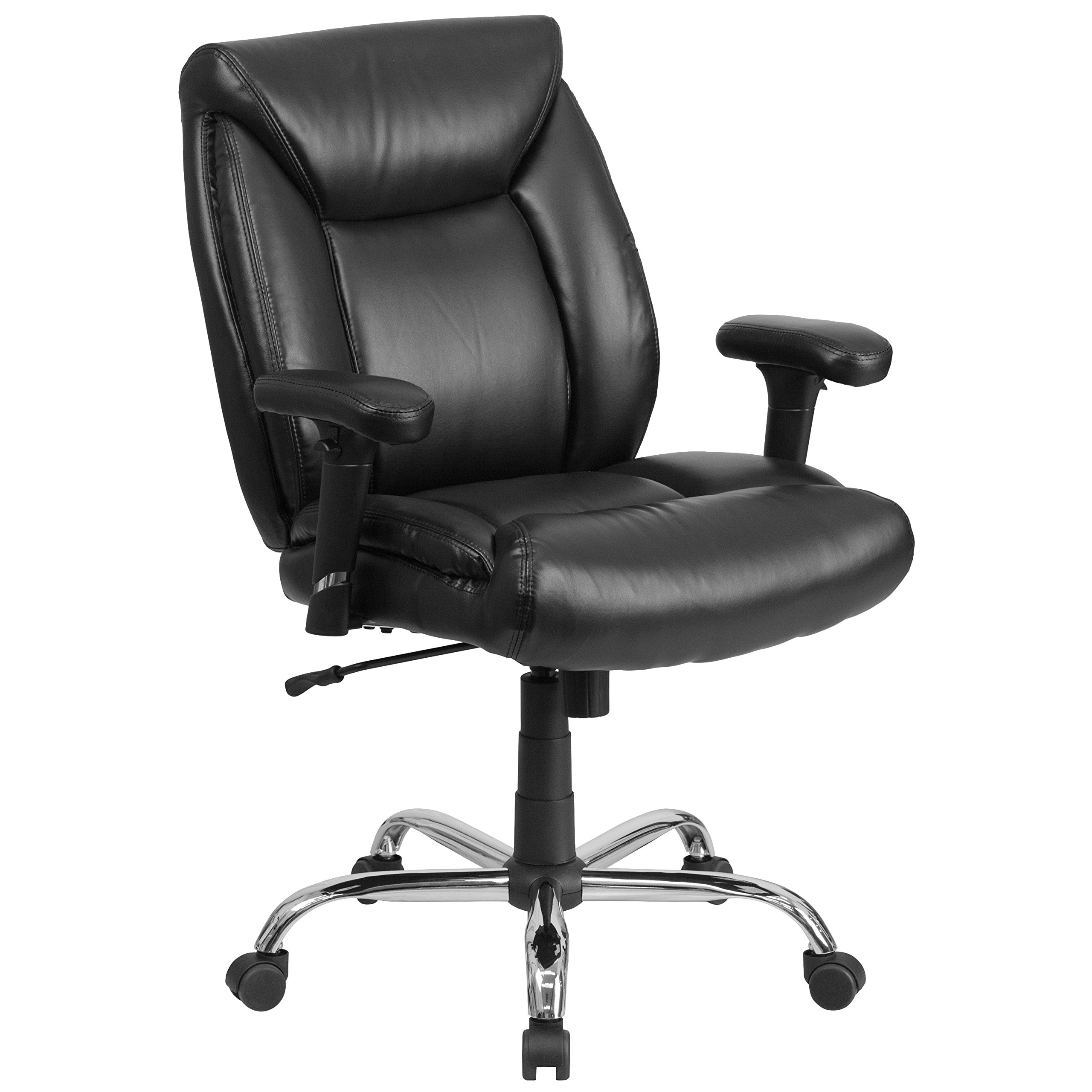 Flash Furniture HERCULES Series Big & Tall 400 lb. Rated Black Leather Swivel Task Chair with Adjustable Arms by Flash Furniture