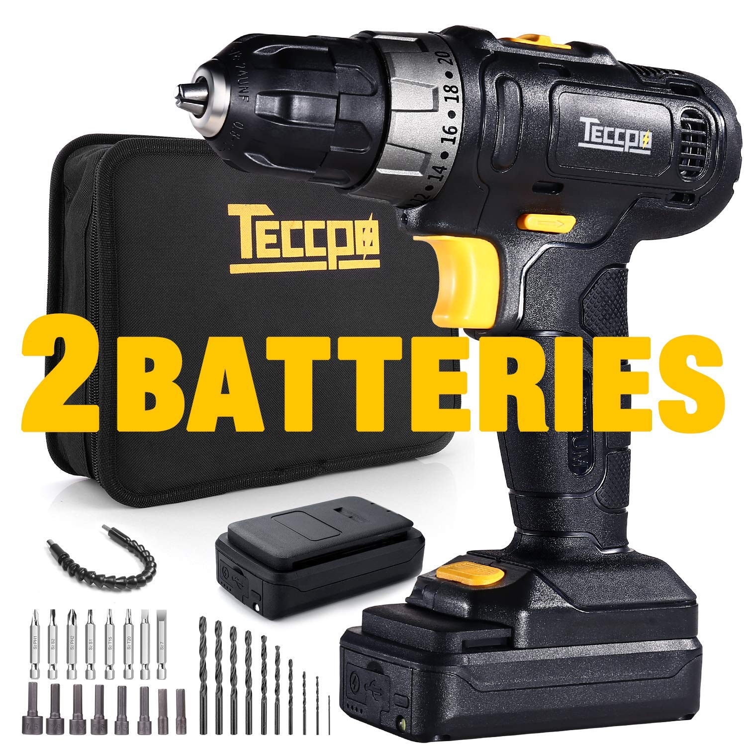 Cordless Drill, TECCPO 2pcs 2.0Ah Lithium-Ion Compact Drill Driver Set, 20+1 Position, 2-Speed Max Torque 240In-lbs, 3/8'' Chuck Max, 27pcs Accessories, LED Light - TDCD02P