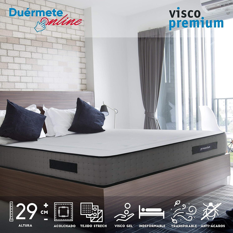 Duérmete Online Colchón Viscoelástico Visco Premium Biogel | Altura 29cm | Alto Confort y Máxima Higiene | Tejido Sanex Antibacteriano, Gel, 135x190