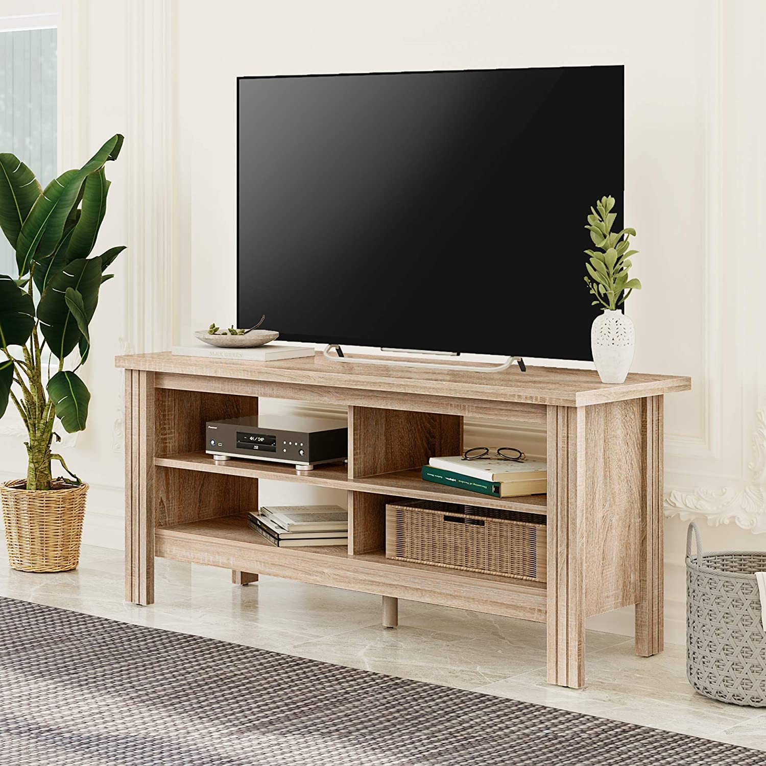 Wampat Tv Stands For 55 Inch Tv Entertainment Center Wood Media Console Storage Cabinet For Bedroom And Living Room White Oak 43 Inch Furniture Decor