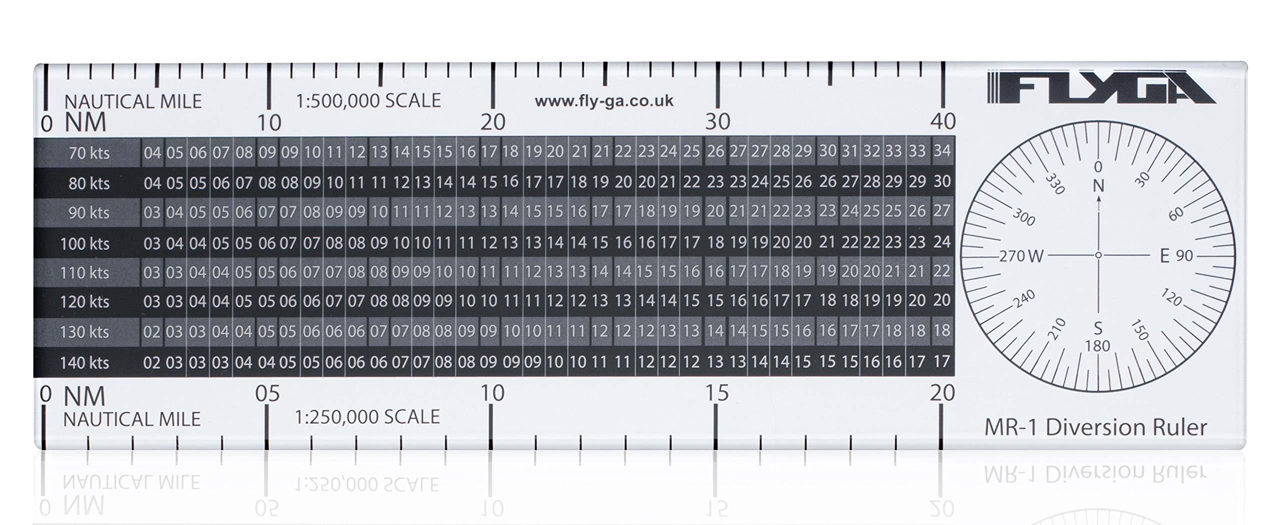 Flight Diversion Ruler (Nautical Mile Navigation Plotter) - For PPL(A), LAPL, PPL(H) & CPL Aviation Pilots