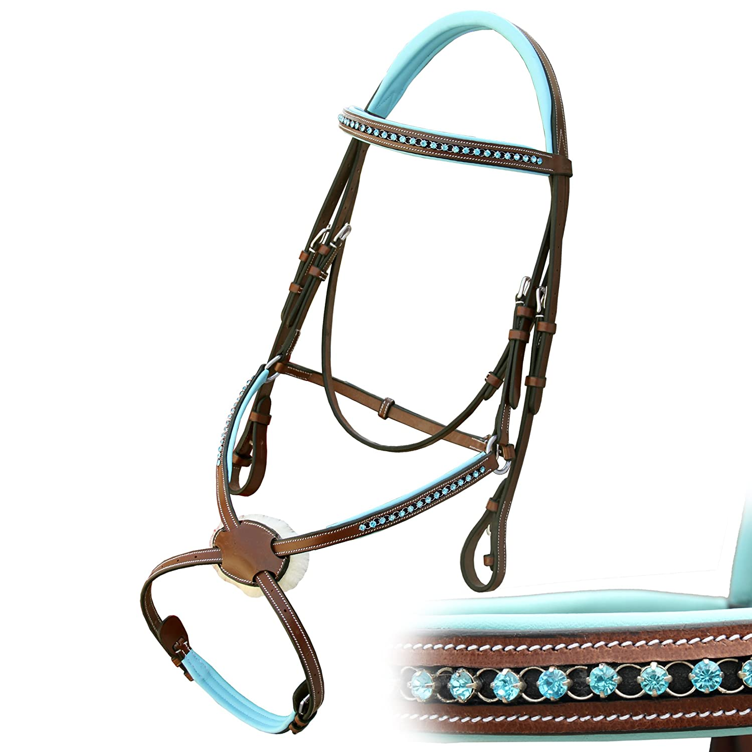 Conker (Tan Brown) Horse (Full) Conker (Tan Brown) Horse (Full) Exion bluee Round Ring Diamond Figure 8 Leather Bridle with PP Rubber Grip Reins and Stainless Steel Buckles   Equestrian Show Jumping Padded Bridle Set   English Horse Riding Tack   Conker