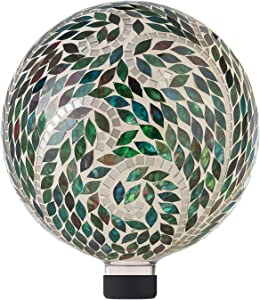 Alpine Corporation HGY286 Mosaic Gazing Globe w/Leaf Pattern, 11 Inch Tall, Multi-Color