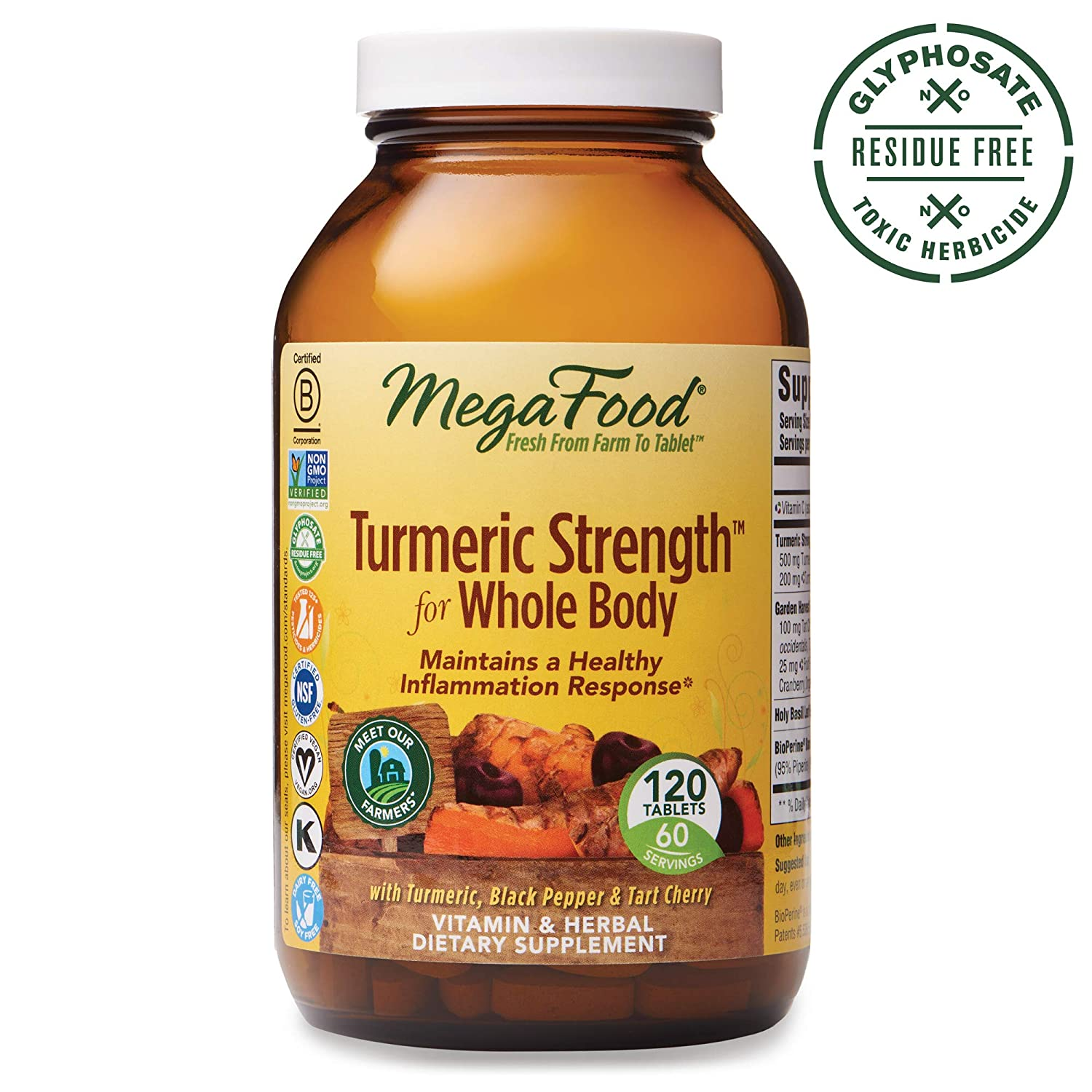 MegaFood, Turmeric Strength for Whole Body, Maintains a Healthy Inflammation Response, Vitamin and Herbal Dietary Supplement, Gluten Free, Vegan, 120 Tablets 60 Servings FFP