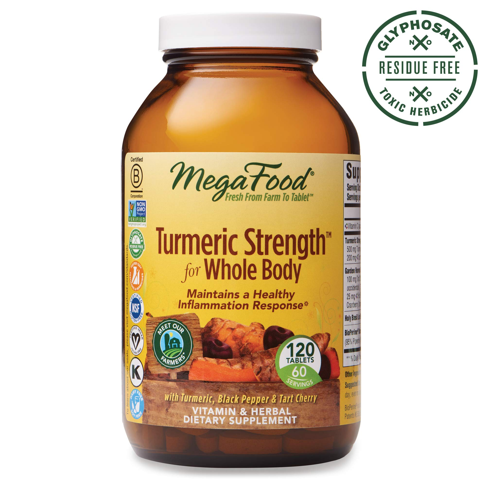 MegaFood, Turmeric Strength for Whole Body, Maintains a Healthy Inflammation Response, Vitamin and Herbal Dietary Supplement, Gluten Free, Vegan, 120 Tablets (60 Servings) (FFP)