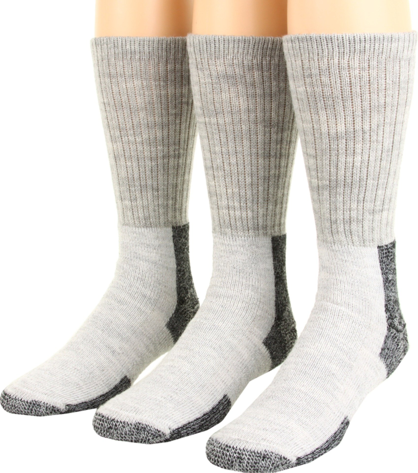 Thorlos Unisex Thick Cushion Hiking Wool Blend 3-Pack Gray/Black Large by thorlos