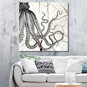 wall26 - Square Canvas Wall Art - Tribal Octopus Wood Effect Canvas - Giclee Print Gallery Wrap Modern Home Decor Ready to Hang - 24x24 inches