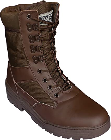 Brown Army Leather Combat Patrol Boots Cadets Military Work Security (5 UK) feae056b9d6