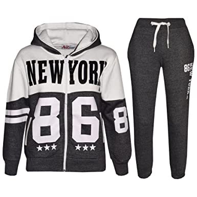 d644ffc7 A2Z 4 Kids® Kids Tracksuit Boys Girls Designer's New York 86 Print Hoodie &  Botom Jogging Suit 7 8 9 10 11 12 13 Years