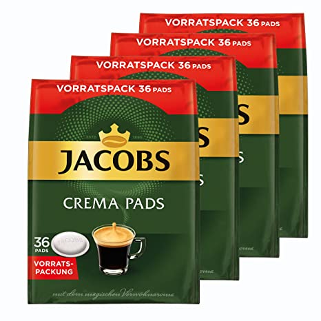 Jacobs Crema monodosis, Tarro Paquete, para Todas Las Máquinas Pad, 144 Café Pads