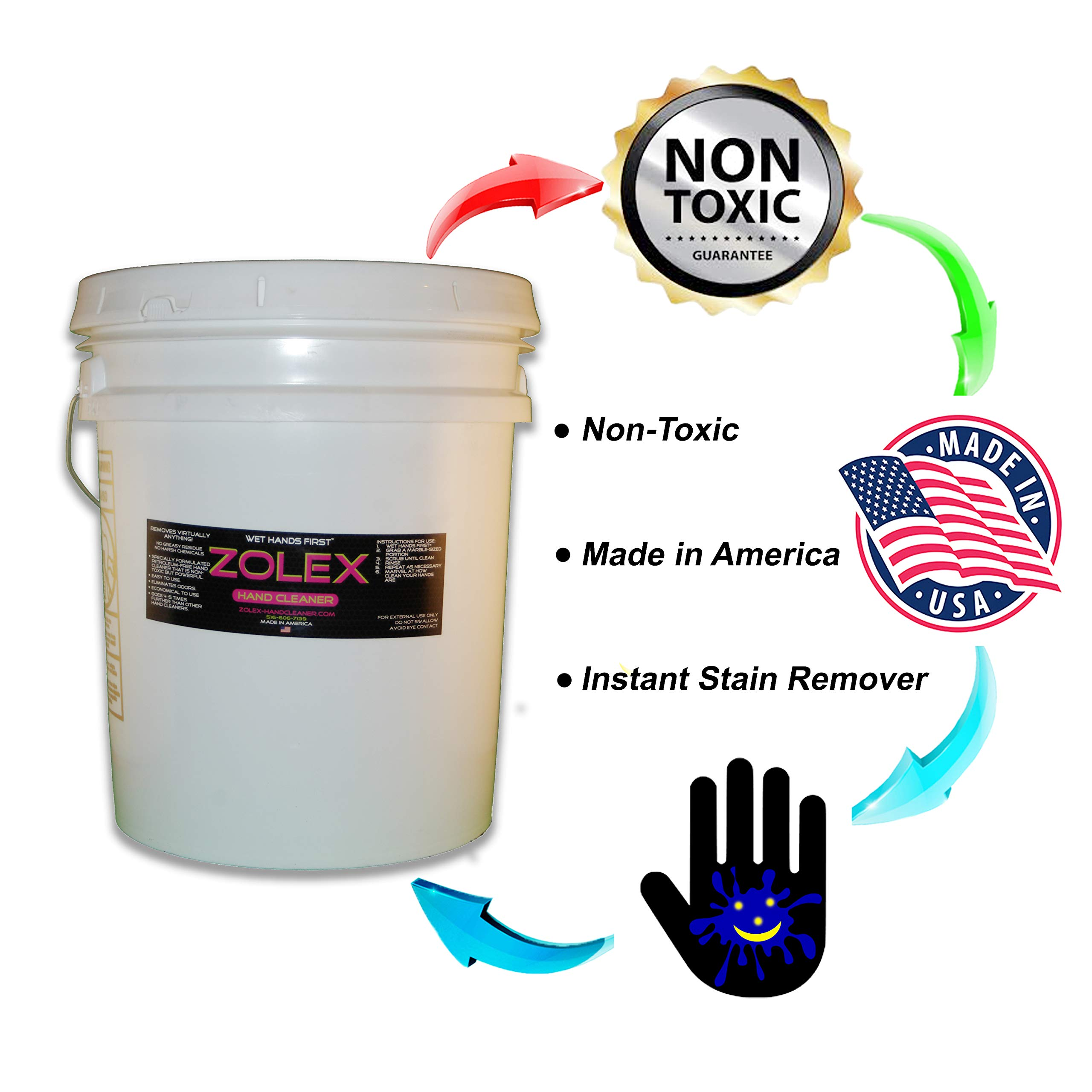 Zolex Water Activated Hand Cleaner for Working Hands| Stain Remover for Heavy Duty Workers | Grease Remover for Auto Mechanics - Non-Toxic Petroleum Free | Commercial-Sized Pail (25 lb) by Zolex (Image #3)