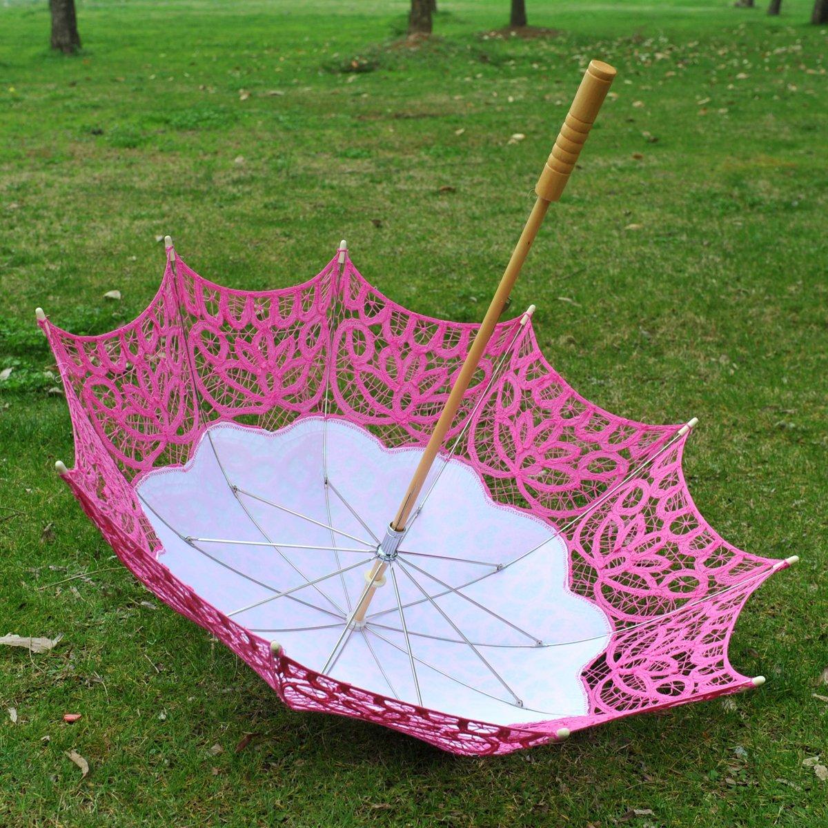 Topwedding Classic Cotton Lace Parasol Umbrella Bridal Shower Decoration, Fuschia by Topwedding (Image #9)