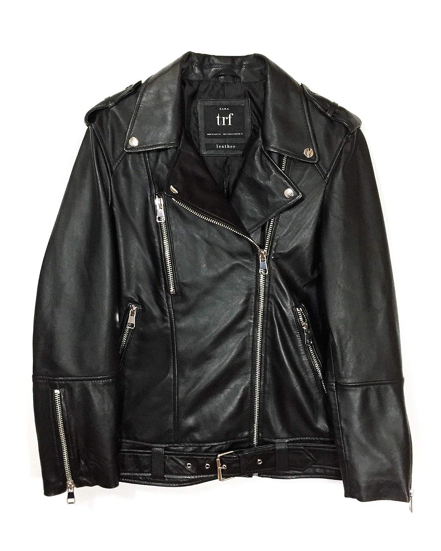 0f8a33c1a8 Zara Women's Oversized Leather Jacket 3461/200 Black: Amazon.co.uk ...