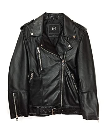 nouveau style 0f10f 5bcb2 Zara Femme Blouson en Cuir Oversize 3461/200 (Small): Amazon ...