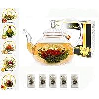 Five Star Gift for Women Flower Tea Gift Box Set: 750ml Glass Teapot with Filter Infuser & 5 Blooming Flowering Green Tea Balls