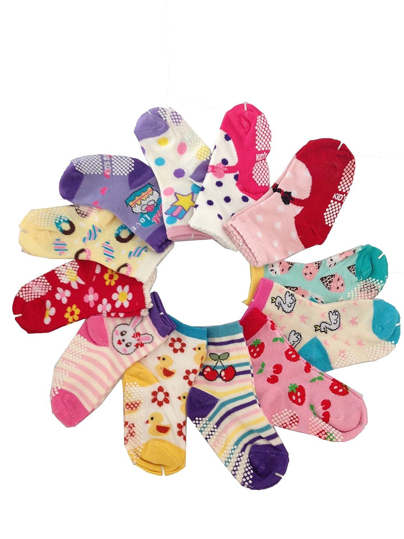 JT-Amigo Calcetines Antideslizantes para Bebés (Pack de 12 Pares) Baby-Sock-12Pairs-Set6