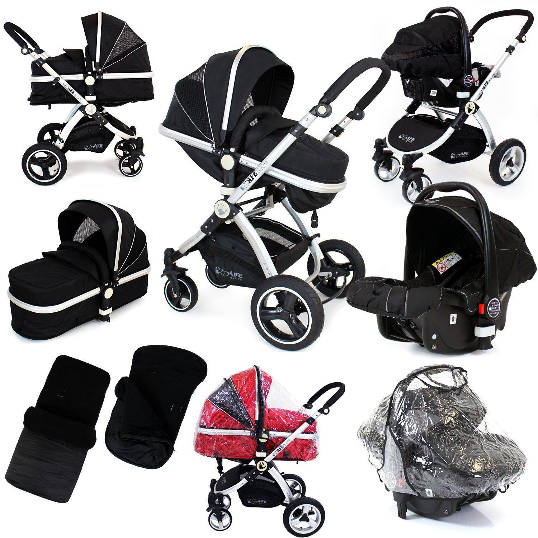 i-Safe System - Black Grey Travel System Pram & Luxury Stroller 3 in