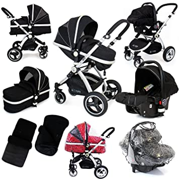 I Safe System Black Trio Travel System Pram Luxury Stroller 3 In 1 Complete With Car Seat Footmuff Carseat Footmuff Raincovers