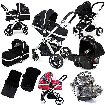 cbc8e9ebe i-Safe System - Black Trio Travel System Pram   Luxury Stroller 3 in ...