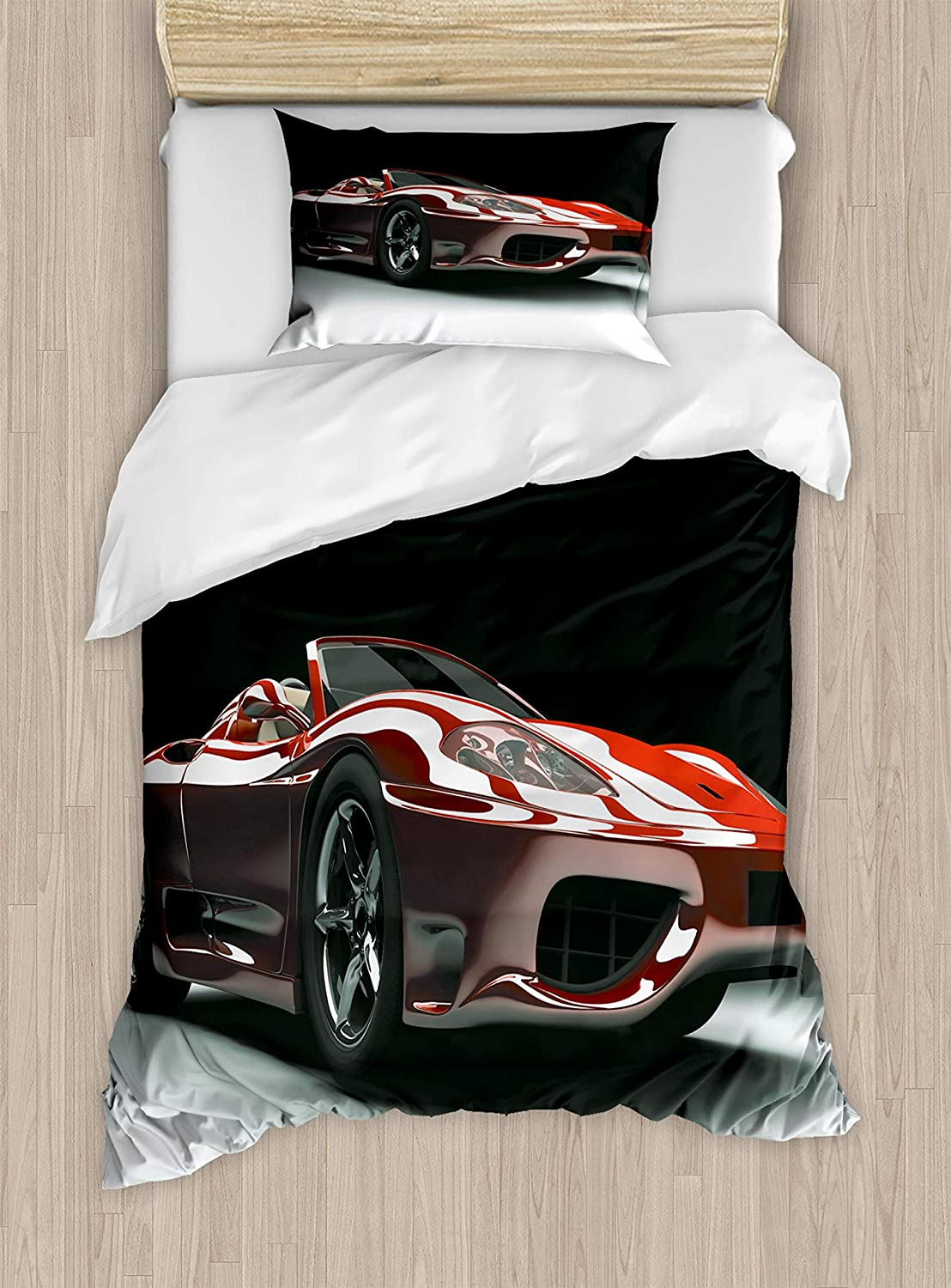 Cars Twin Size Duvet Cover Set by Ambesonne, Automotive Industry Theme Powerful Engine Fast Technology Prestige Performance, Decorative 2 Piece Bedding Set with 1 Pillow Sham, Red Black White