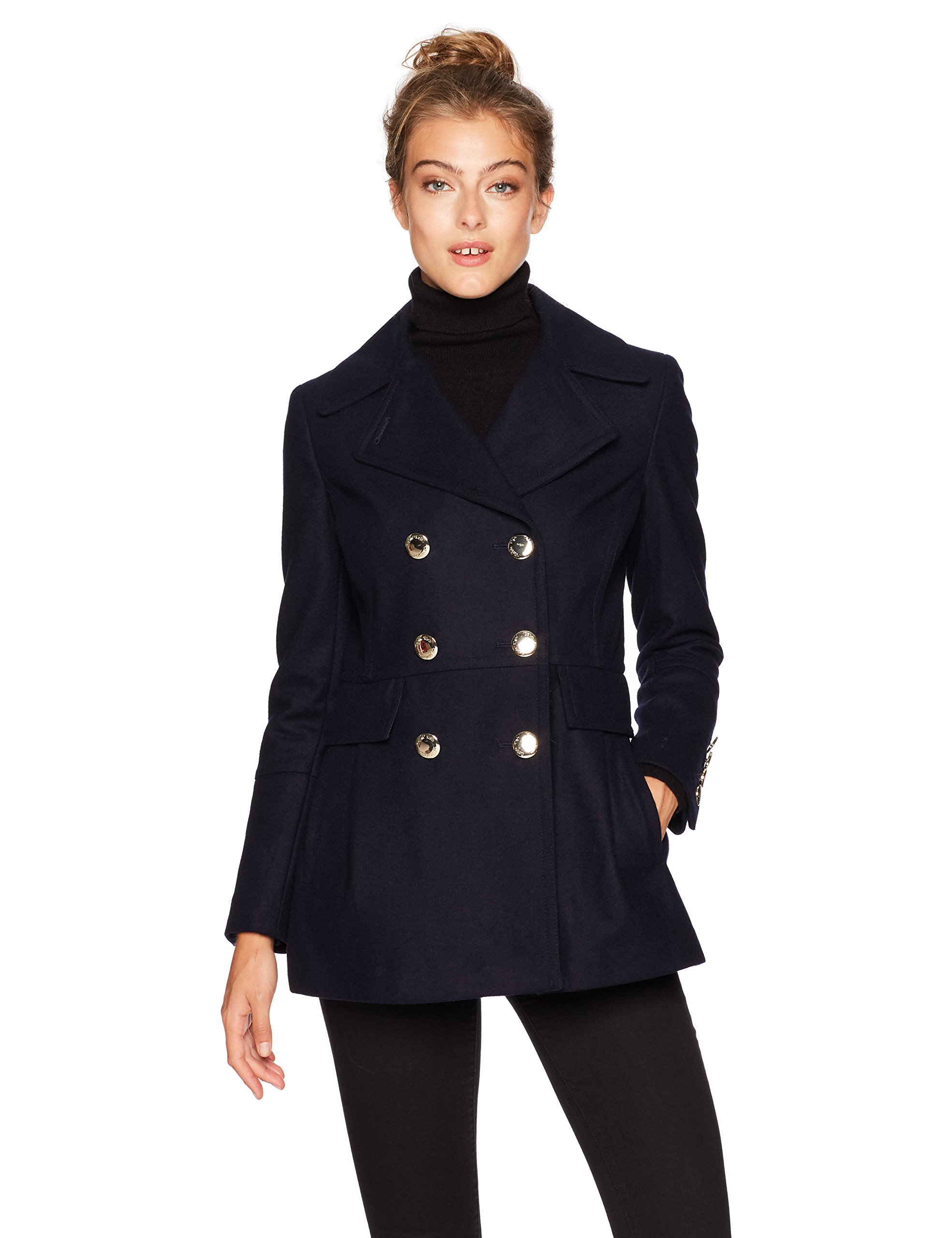 Calvin Klein Women's Polished Wool Coat with Button Detail, Navy, XL