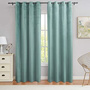 PY Home & Sports Teal Velvet Curtains 84 Inch Long Blackout Window Curtain Drapes for Living Room & Bedroom(Teal, 52x84 Inch, 2 Panels)