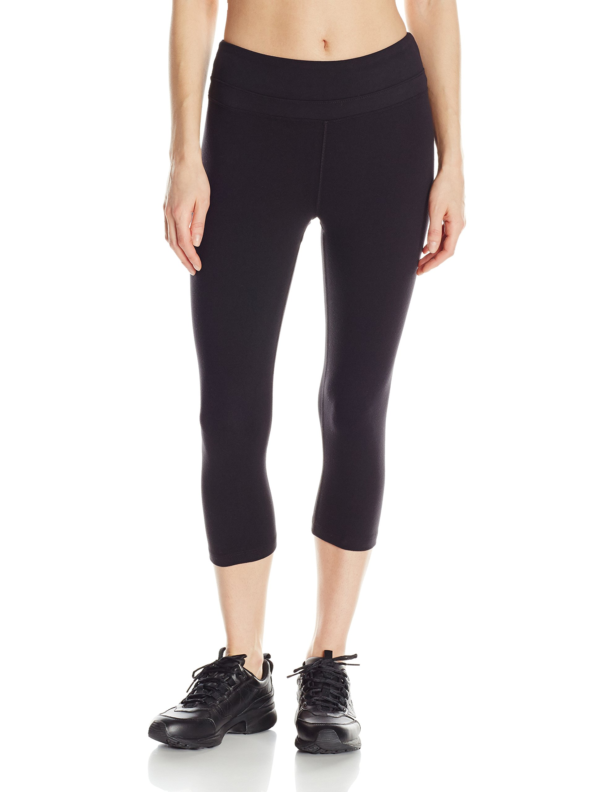 Marika Womens Ava Performance Slim Capri Legging, Black, Medium