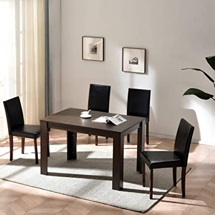 Cherry Tree Furniture 5 Piece Dining Room Set 4 Seater Dining Table With 4 Chairs Walnut Colour Table With Black Pu Leather Seats Amazon Co Uk Kitchen Home