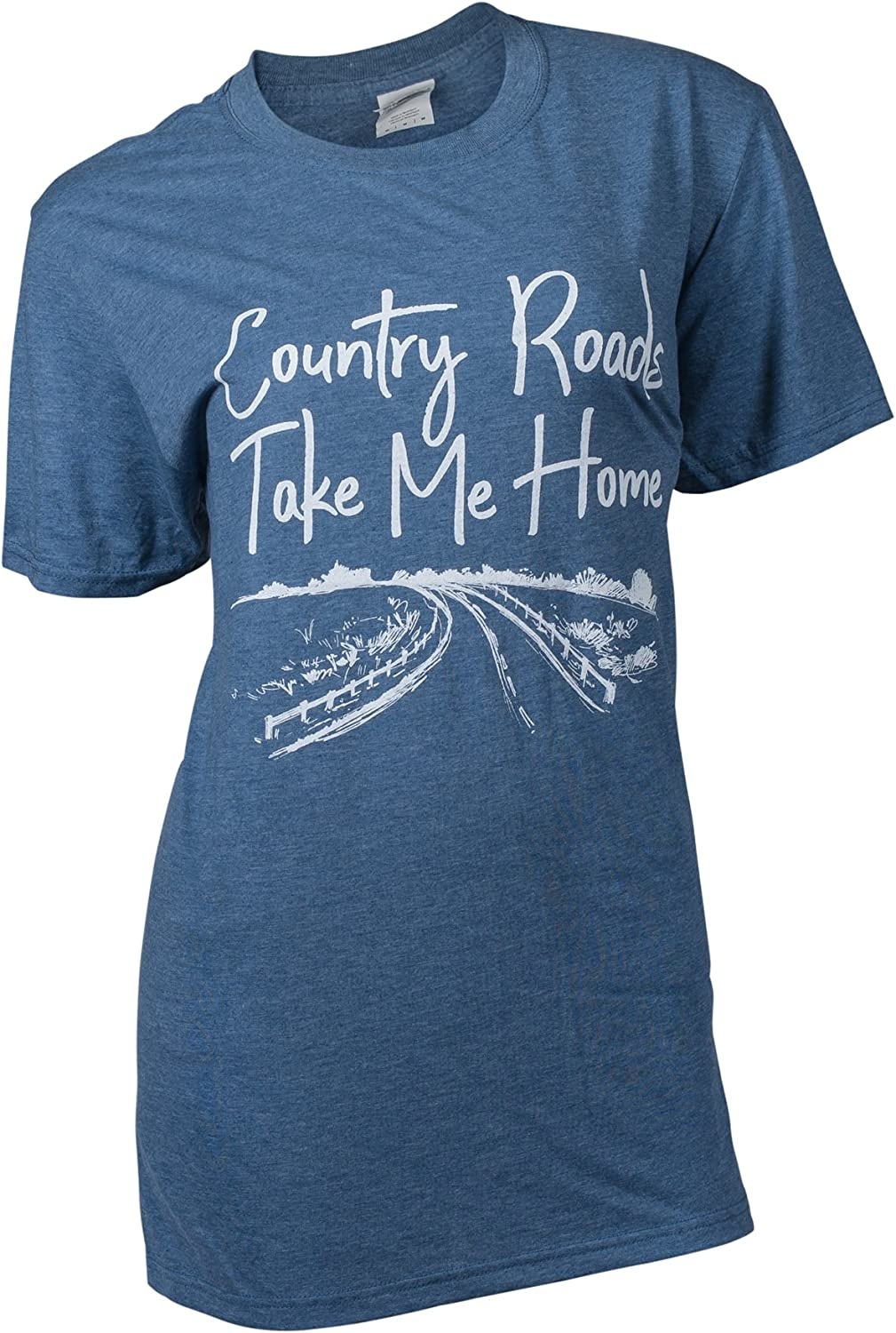 Southern Couture SC Soft Country Roads Take Me Home Front Print Classic Fit Adult T-Shirt - Heather Indigo