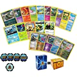 100 Assorted Pokemon Cards: Features 5 Rares, 5 Holos, 90 Common/Uncommon, and Custom Damage Chips - All Cards are Authentic