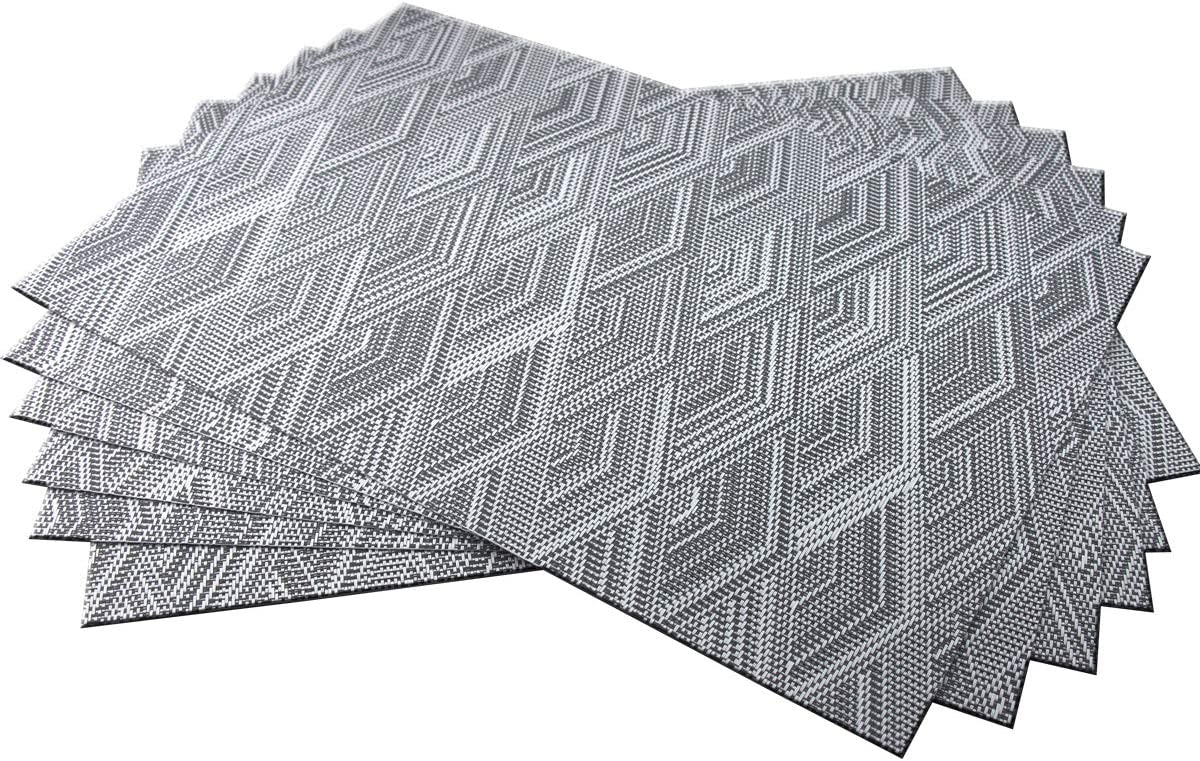 BeChen Placemats,Durable Placemats for Dining Table,Washable Woven Vinyl Kitchen Placemats Set of 6(Thicken,Grey)