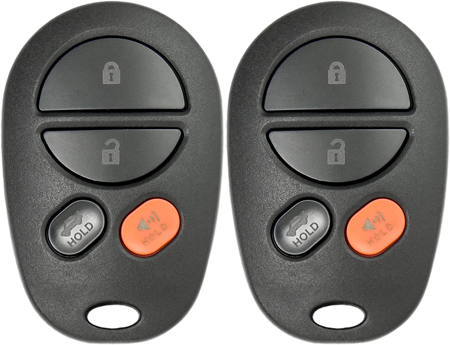 2 Pack Keyless2Go New Keyless Entry Remote Car Key Fob 4 Button Replacement for FCC GQ43VT20T