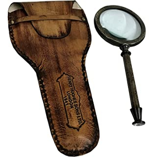 BRASS MOTHER PEARL MAGNIFIER HANDHELD ANTIQUE HAND LENS MAGNIFYING GLASS MG 02