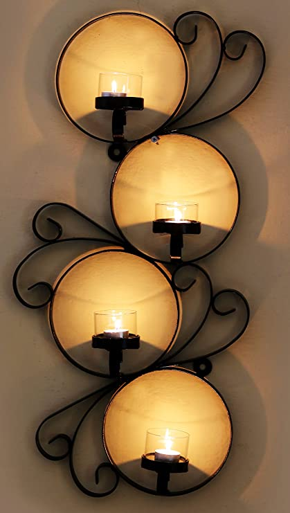 Buy Wrought Iron Metal Candle Stand Cum Wall Art Online at Low ...