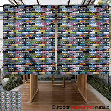 Amazon.com : Sunnyhome Living Room/Bedroom Window Curtains Retro Music Cassettes of Nineties Grommet Curtains for Bedroom W 55