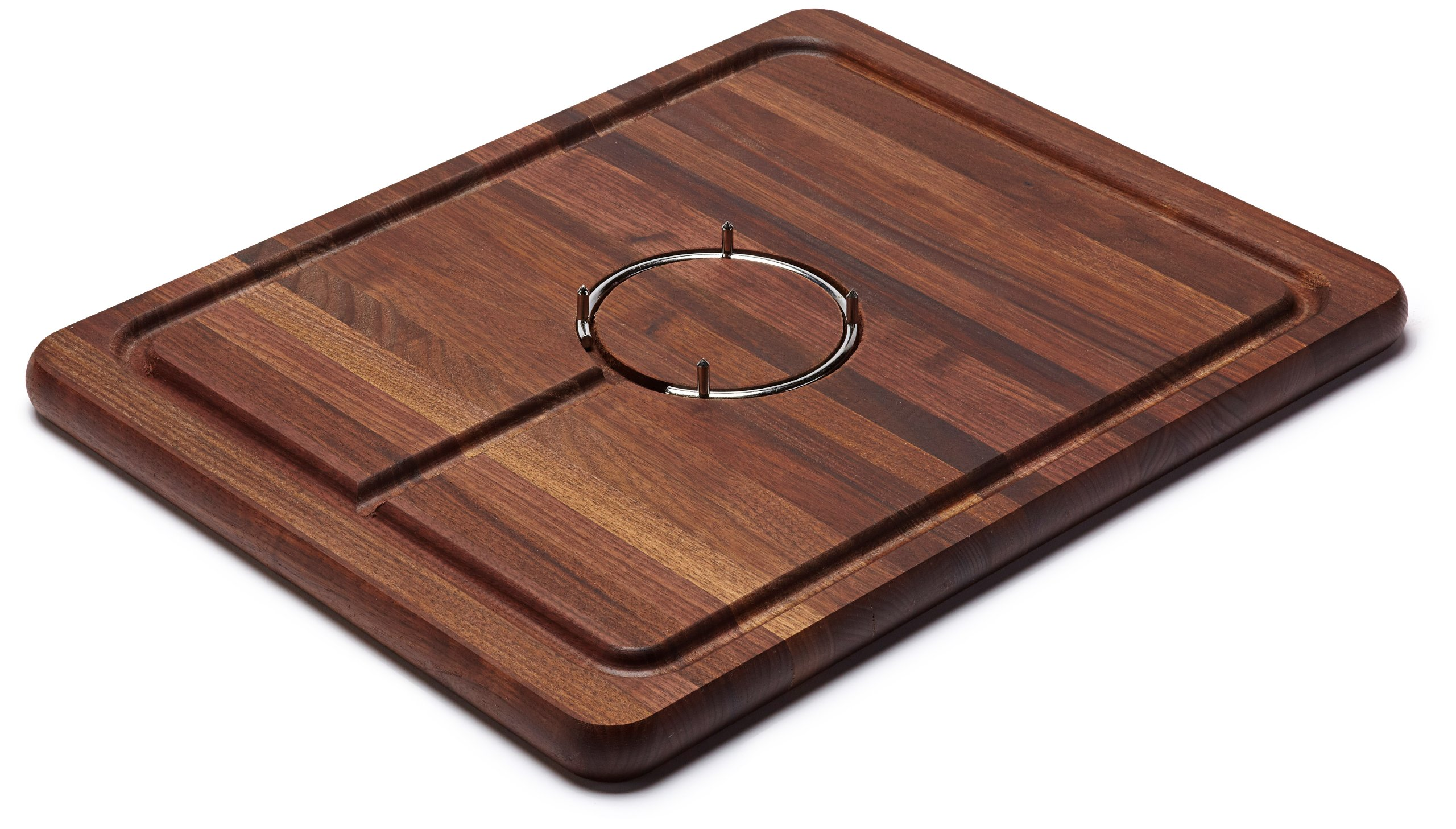 Snow River USA 7V03085 Hardwood Walnut Carving Board Stainless Steel Gripping Ring and Juice Well, 14'' x 18'' x 1''