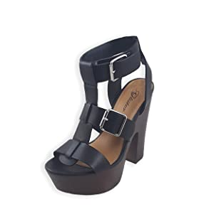 Glister Women's Eric-02 New Sexy Chunky Heel Sandals Fashion Caged Platform Gladiator Strappy Shoes 5 Black