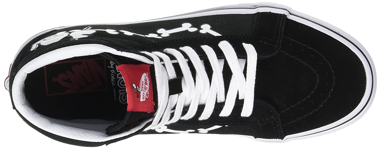 VANS MENS SK8 HI REISSUE LEATHER SHOES B01N2T88H9 9.5 M US Women / 8 M US Men|(Peanuts) Snoopy Bones/Black