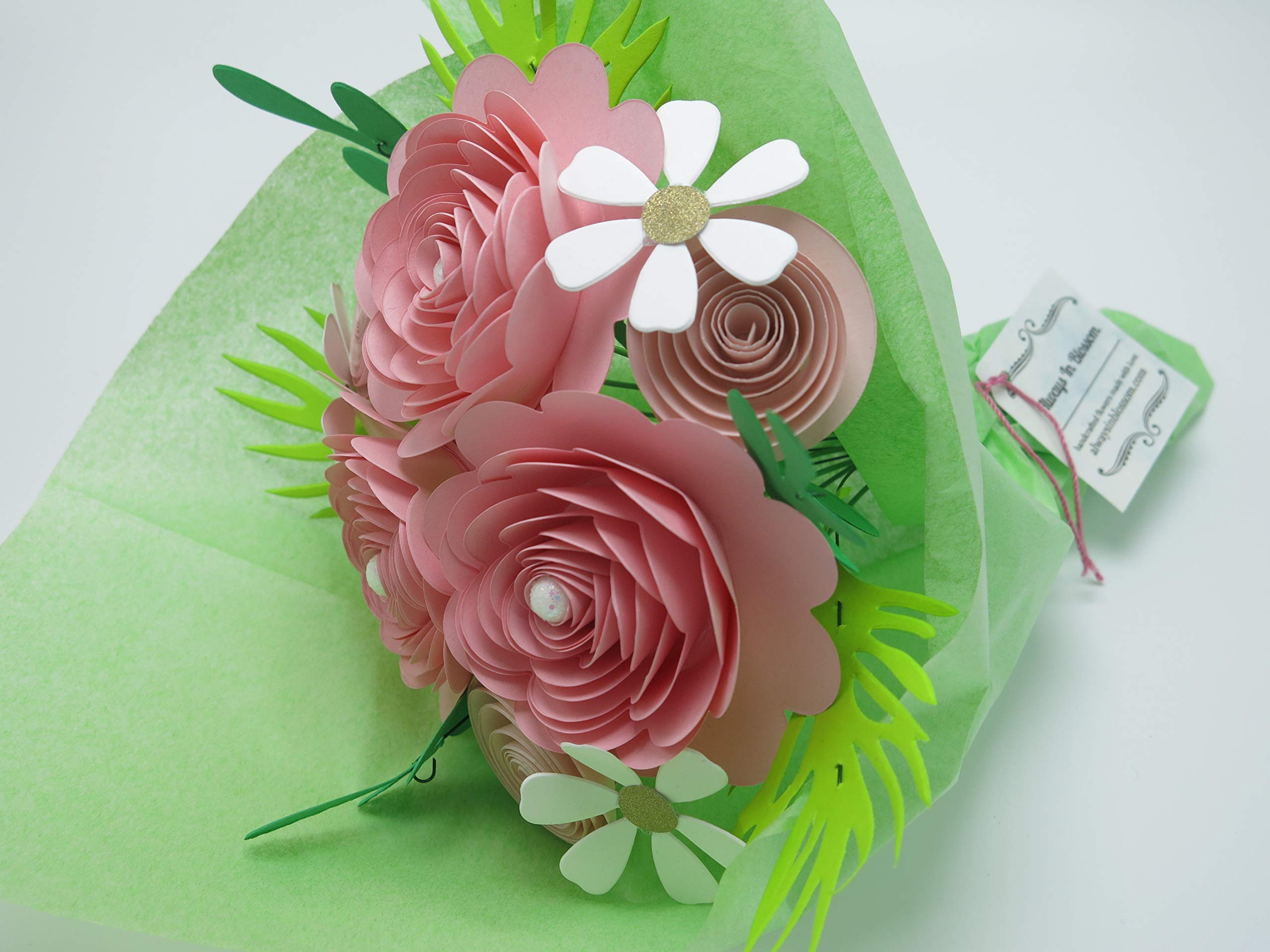 Pink Rose Paper Flower Bouquet, Valentine's Day Gift Idea, Modern Roses and Daisies on Stems, Set of 15 Floral Picks