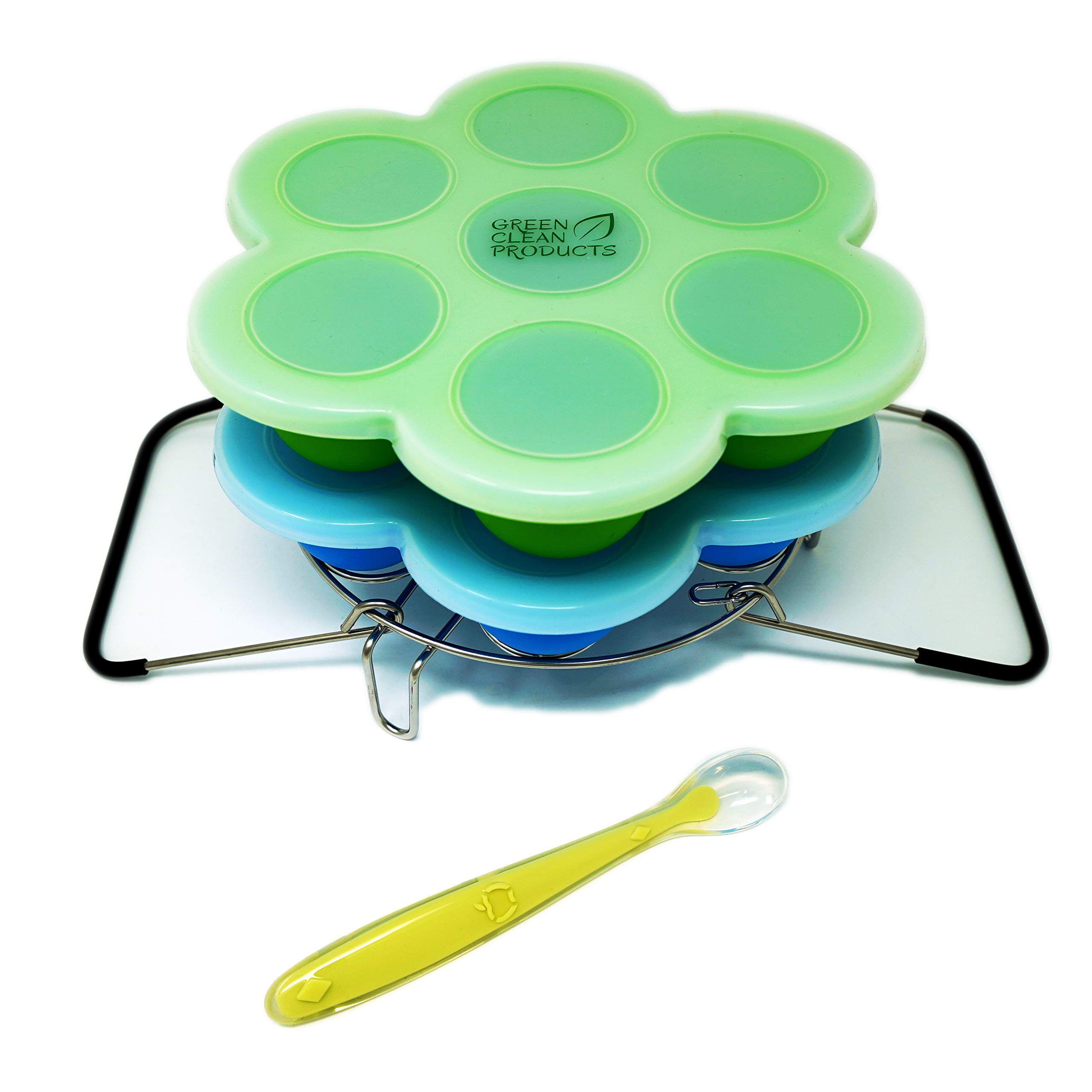 2 Silicone mold egg bites and steamer rack with handles | 6 & 8 qt instant pot & pressure cooker accessory | Reusable food storage & freezer tray with lid | 2 sets, 2 lids, 1 spoon, free e-cookbook