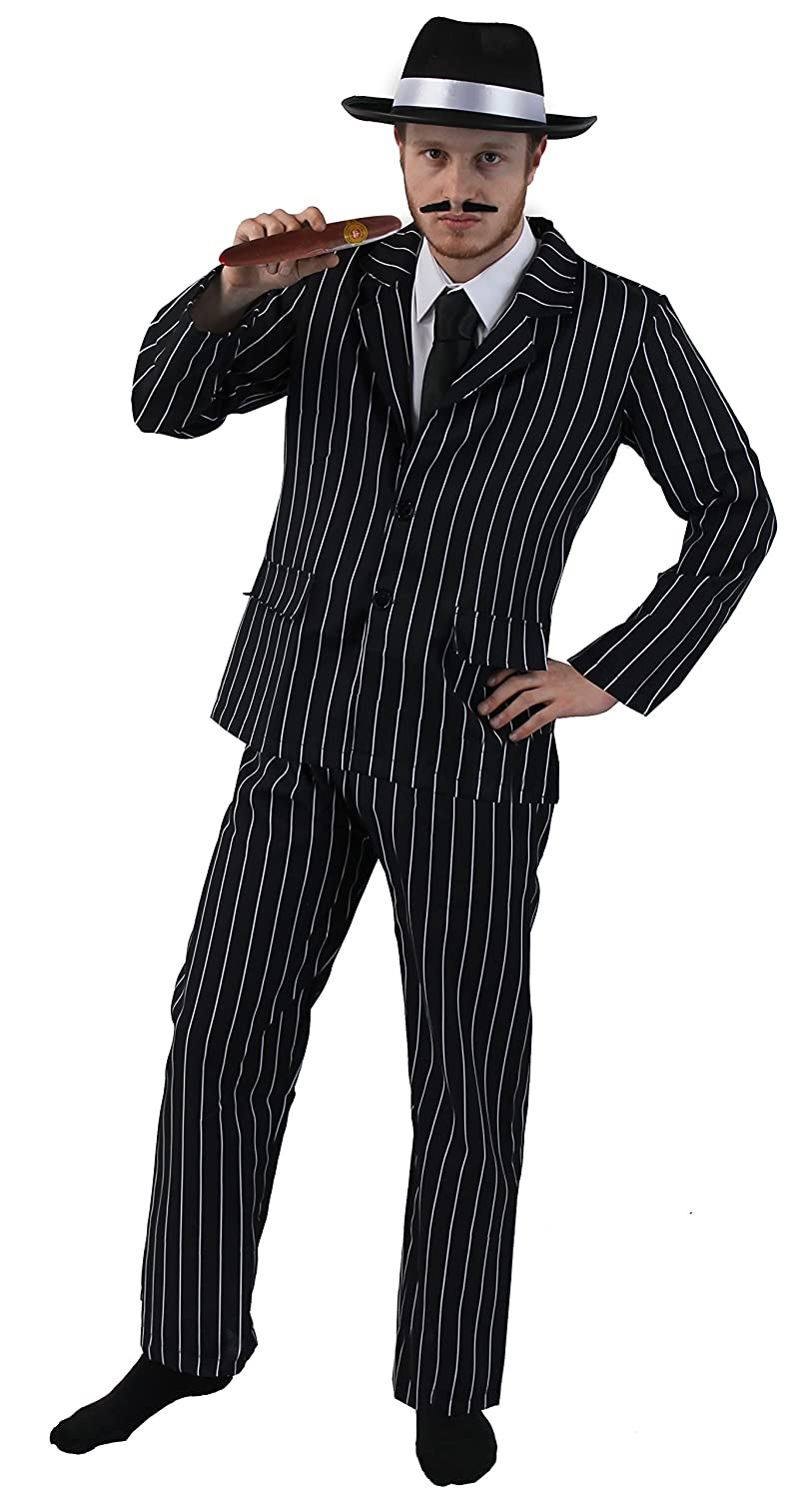 1940s Men's Clothing ADULT 1920s GANGSTER FANCY DRESS COSTUME FOR MEN - PINSTRIPE SUIT JACKET & TROUSERS + BLACK TIE + BLACK TRILBY WITH WHITE BAND+ CIGAR + SPIV MOUSTACHE BY ILOVEFANCYDRESS® - SMALL £22.99 AT vintagedancer.com