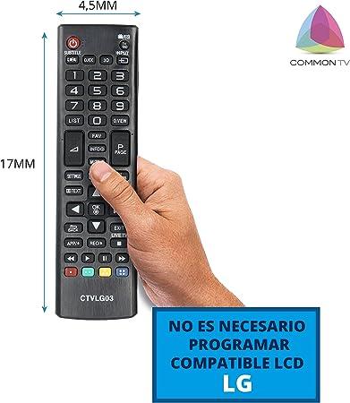 Common TV CTVLG03 mando a distancia universal para control remoto de televisores LG, sin configuración, ergonómico: Amazon.es: Electrónica
