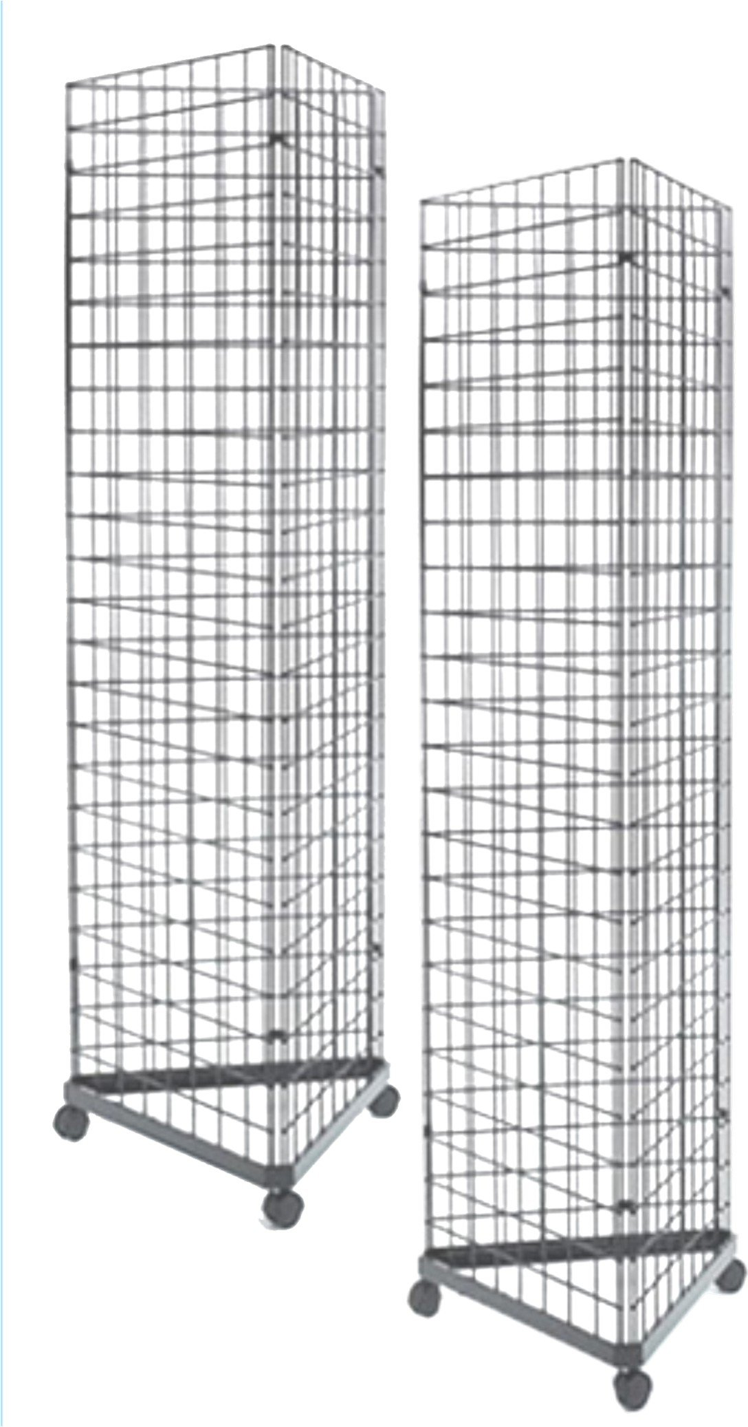 2' x 6' Grid Panel 3-Sided Tower Floorstanding Display Kit with Wheels, 2-Pack. Chrome.