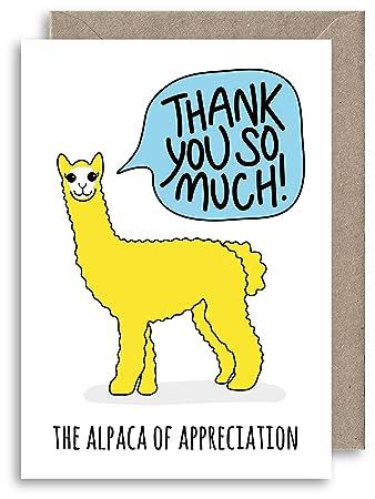 Alpaca Of Appreciation Greeting Card Thank You Card Cute Animal