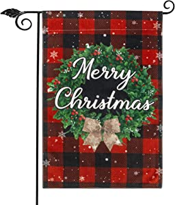 Unevs Christmas Garden Flag, Double Sided Burlap Red Black Buffalo Plaid Merry Christmas Garden Flags, Holiday Winter Rustic Christmas Yard Flag Farmhouse Outdoor Decoration 12.5''x18''