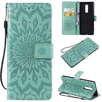 Janeqi Funda Sony Xperia XZ4 - Flip Cover + Tarjeta + Soporte + Funda de Piel Anti-caída Cáscara Case Cover para Sony Xperia XZ4 [Verde]