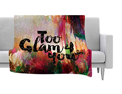 40 X 30 40 by 30-Inch Kess InHouse EBI Emporium Too Glam 4 You-1 Magenta Green Fleece Throw Blanket