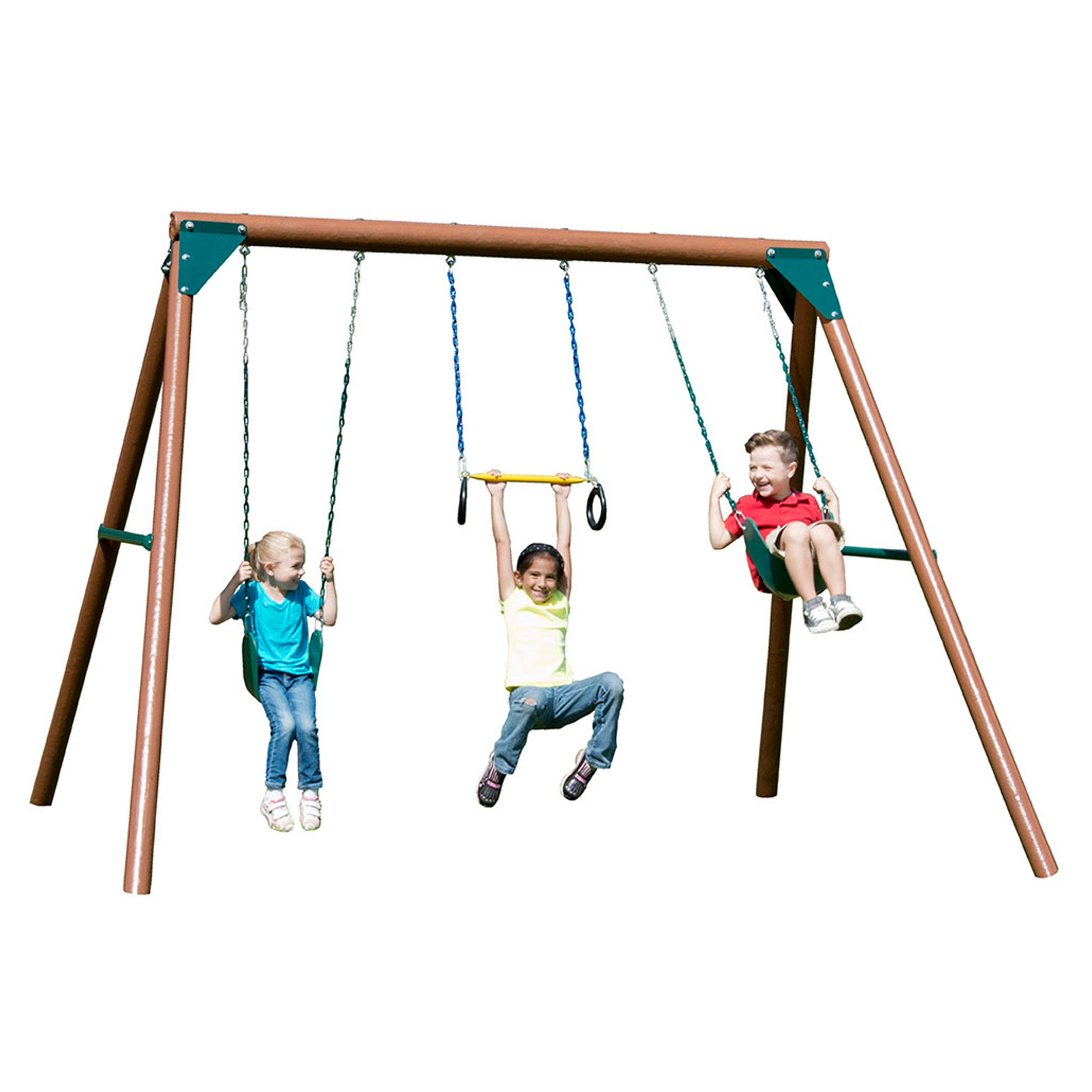 Swing-N-Slide Orbiter Complete Wooden Swing Set, Safety Tested for Backyards with Two Swings and Trapeze Handle Bar by Swing-N-Slide (Image #1)