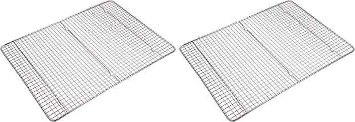 "Great Credentials Professional Cross Wire Cooling Rack Half Sheet Pan Grate - 16-1/2"" x 12"" Drip Screen 2 Pack"