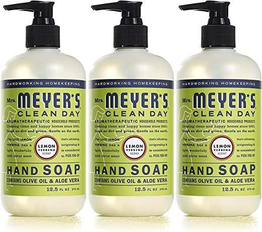 Mrs. Meyer's Clean Day Liquid Hand Soap, Cruelty Free and Biodegradable Formula, Lemon Verbena Scent, 12.5 oz- Pack of 3